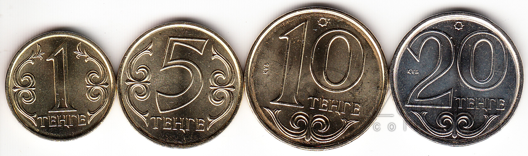 Казахстан набор 4 монеты 1, 5, 10 и 20 тенге 2012. ZooCoin
